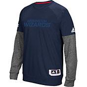 adidas Men's Washington Wizards On-Court Navy/Grey Long Sleeve Shooting Shirt