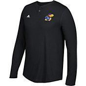 adidas Men's Kansas Jayhawks Jayhawks Henley Long Sleeve Shirt