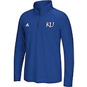 adidas Men's Kansas Jayhawks Blue Prime Logo Quarter-Zip Shirt