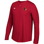 adidas Men's Louisville Cardinals Cardinals Henley Long Sleeve Shirt