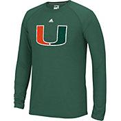 adidas Men's Miami Hurricanes Green Cut The Net Long Sleeve T-Shirt