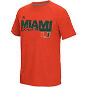 adidas Men's Miami Hurricanes Orange Sideline Grind Football Short Sleeve T-Shirt
