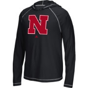 adidas Men's Nebraska Cornhuskers Black Logo Long Sleeve Hooded Shirt