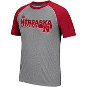adidas Men's Cornhuskers Grey Short Sleeve Baseball T-Shirt
