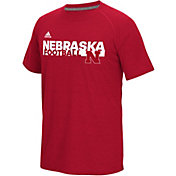 adidas Men's Nebraska Cornhuskers Scarlet Sideline Grind Football Short Sleeve T-Shirt