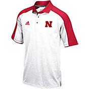adidas Men's Nebraska Cornhuskers White/Scarlet Sideline Performance Polo