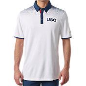 adidas Men's USA Shoulder Print Golf Polo