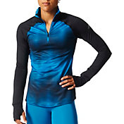 adidas Women's Cold Weather Chevron Tonal Half Zip Long Sleeve Shirt