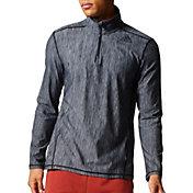 adidas Men's Vertical Heather Quarter Zip Long Sleeve Shirt