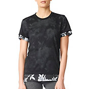 adidas Women's Two-Layer Tonal Floral Print T-Shirt