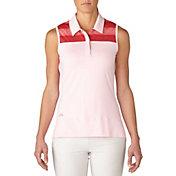 adidas Women's Melange Stripe Sleeveless Golf Polo
