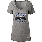 adidas Women's San Jose Earthquakes Grey Tri-Blend T-Shirt