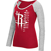 adidas Women's Houston Rockets Scoop Neck Red/Grey Long Sleeve Shirt