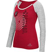 adidas Women's Portland Trail Blazers Scoop Neck Red/Grey Long Sleeve Shirt