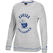 adidas Women's Kansas Jayhawks Grey Slouchy Crew Sweatshirt