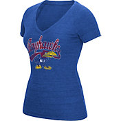 adidas Women's Kansas Jayhawks Blue Scribble V-Neck T-Shirt