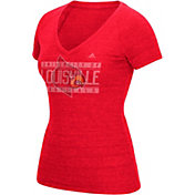 adidas Women's Louisville Cardinals Cardinal Red Distress V-Neck T-Shirt
