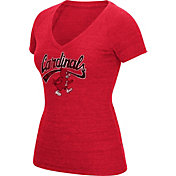 adidas Women's Louisville Cardinals Cardinal Red Scribble V-Neck T-Shirt