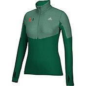 adidas Women's Miami Hurricanes Green Long Sleeve Half-Zip Shirt