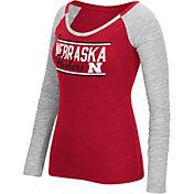 adidas Women's Nebraska Cornhuskers Scarlet Double Bar Long Sleeve Shirt