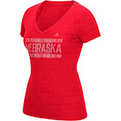 adidas Women's Nebraska Cornhuskers Red Distress V-Neck T-Shirt