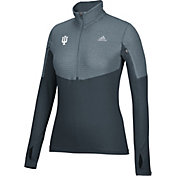 adidas Women's Indiana Hoosiers Grey Long Sleeve Half-Zip Shirt