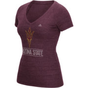 adidas Women's Arizona State Sun Devils Maroon Distress V-Neck T-Shirt