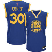 adidas Youth Golden State Warriors Steph Curry #30 Road Royal Replica Jersey