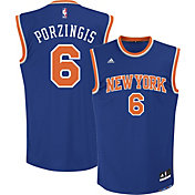 adidas Youth New York Knicks Kristaps Porzingis #6 Road Royal Replica Jersey