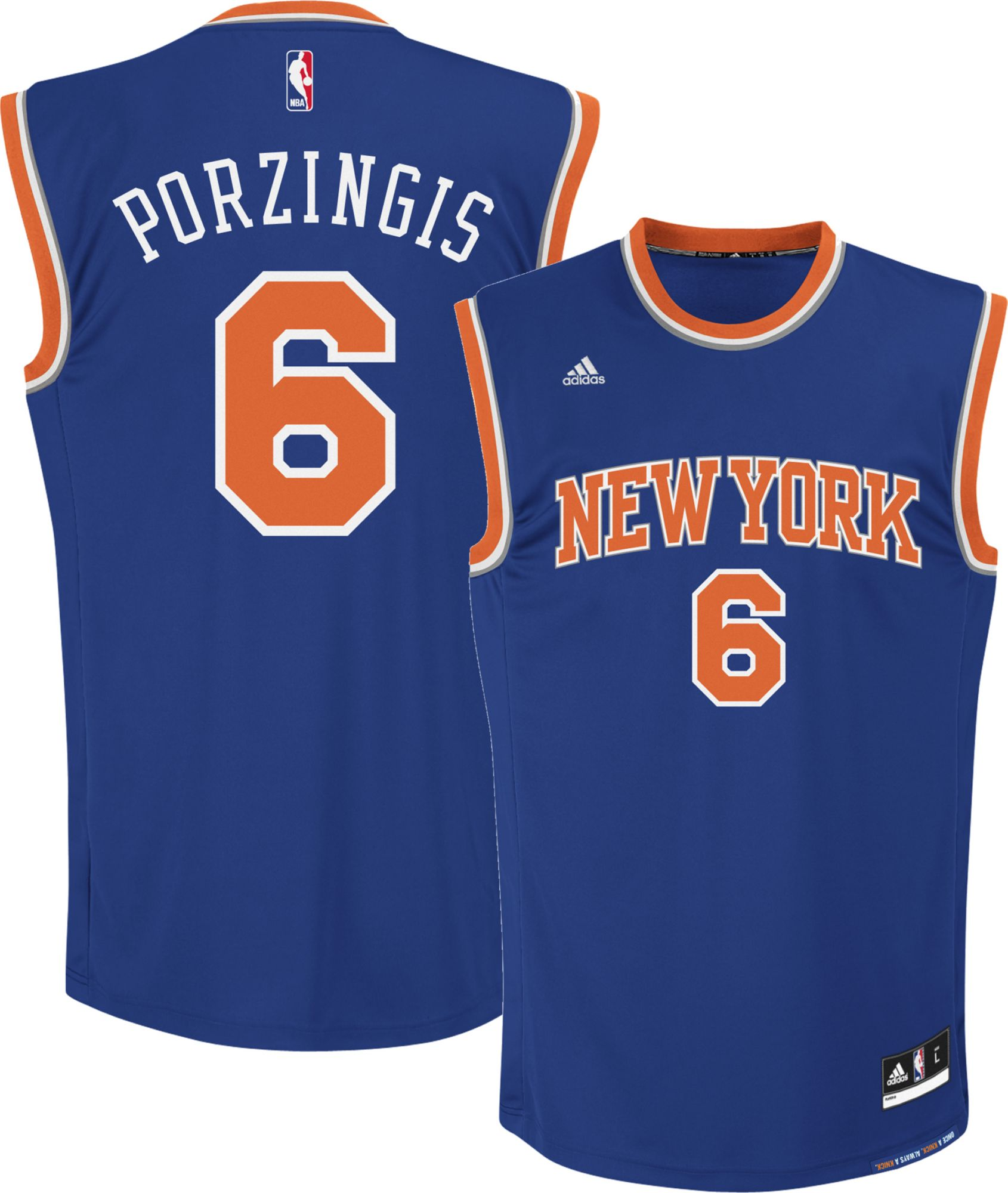 ... Blue Road Swingman Jersey - Kristaps Porzingis adidas Youth New York  Knicks Kristaps Porzingis 6 Road Royal ... 9d69073db