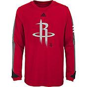 adidas Youth Houston Rockets Red Long Sleeve Shirt