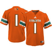 adidas Youth Miami Hurricanes Orange #1 Replica Jersey