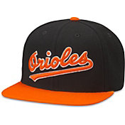 American Needle Men's Baltimore Orioles Black Scripteez Hat