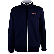 Antigua Men's Atlanta Braves Leader Navy Full-Zip Jacket