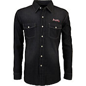 Antigua Men's Atlanta Braves Chambray Button-Up Black Long Sleeve Shirt