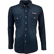 Antigua Men's Atlanta Braves Chambray Button-Up Long Sleeve Shirt