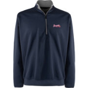 Antigua Men's Atlanta Braves Leader Navy Quarter-Zip Pullover