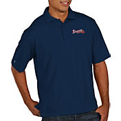 Antigua Men's Atlanta Braves Navy Xtra-Lite Pique Performance Polo