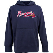 Antigua Men's Atlanta Braves Navy Signature Hoodie