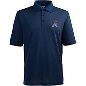 Antigua Men's Atlanta Braves Xtra-Lite Patriotic Logo Navy Pique Performance Polo