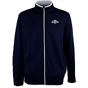 Antigua Men's Milwaukee Brewers Leader Navy Full-Zip Jacket
