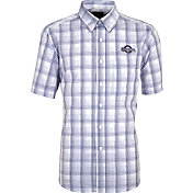 Antigua Men's Milwaukee Brewers Alumni Navy Plaid Button-Up Shirt