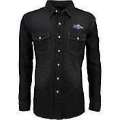Antigua Men's Milwaukee Brewers Chambray Button-Up Black Long Sleeve Shirt