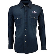 Antigua Men's Milwaukee Brewers Chambray Button-Up Long Sleeve Shirt