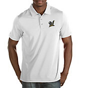 Antigua Men's Milwaukee Brewers White Quest Performance Polo