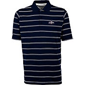 Antigua Men's Milwaukee Brewers Deluxe Navy Striped Performance Polo