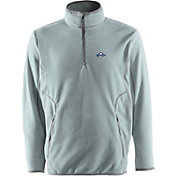 Antigua Men's Milwaukee Brewers Quarter-Zip Silver Ice Pullover