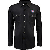 Antigua Men's Chicago Cubs Chambray Button-Up Black Long Sleeve Shirt