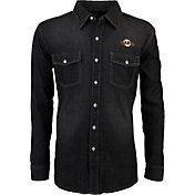 Antigua Men's San Francisco Giants Chambray Button-Up Black Long Sleeve Shirt