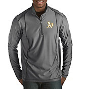 Antigua Men's Oakland Athletics Grey Tempo Quarter-Zip Pullover